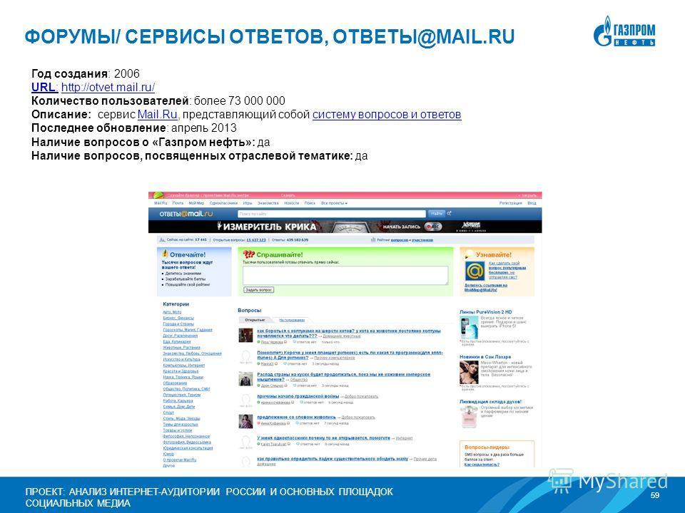 59 ПРОЕКТ: АНАЛИЗ ИНТЕРНЕТ-АУДИТОРИИ РОССИИ И ОСНОВНЫХ ПЛОЩАДОК СОЦИАЛЬНЫХ МЕДИА ФОРУМЫ/ СЕРВИСЫ ОТВЕТОВ, ОТВЕТЫ@MAIL.RU Год создания: 2006 URL:URL: http://otvet.mail.ru/http://otvet.mail.ru/ Количество пользователей: более 73 000 000 Описание: серви