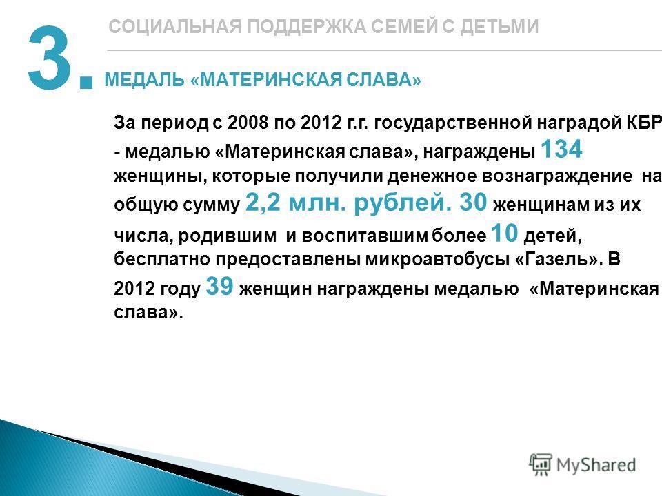 МЕДАЛЬ «МАТЕРИНСКАЯ СЛАВА» 3. СОЦИАЛЬНАЯ ПОДДЕРЖКА СЕМЕЙ С ДЕТЬМИ За период с 2008 по 2012 г.г. государственной наградой КБР - медалью «Материнская слава», награждены 134 женщины, которые получили денежное вознаграждение на общую сумму 2,2 млн. рубле