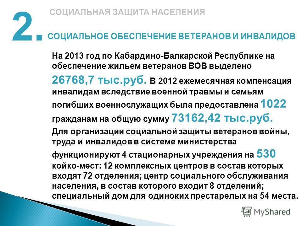 СОЦИАЛЬНОЕ ОБЕСПЕЧЕНИЕ ВЕТЕРАНОВ И ИНВАЛИДОВ 2. СОЦИАЛЬНАЯ ЗАЩИТА НАСЕЛЕНИЯ На 2013 год по Кабардино-Балкарской Республике на обеспечение жильем ветеранов ВОВ выделено 26768,7 тыс.руб. В 2012 ежемесячная компенсация инвалидам вследствие военной травм