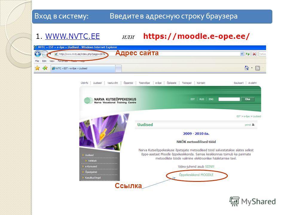 Вход в систему : Введите в адресную строку браузера Ссылка Адрес сайта 1. WWW.NVTC.EE или https://moodle.e-ope.ee/WWW.NVTC.EE