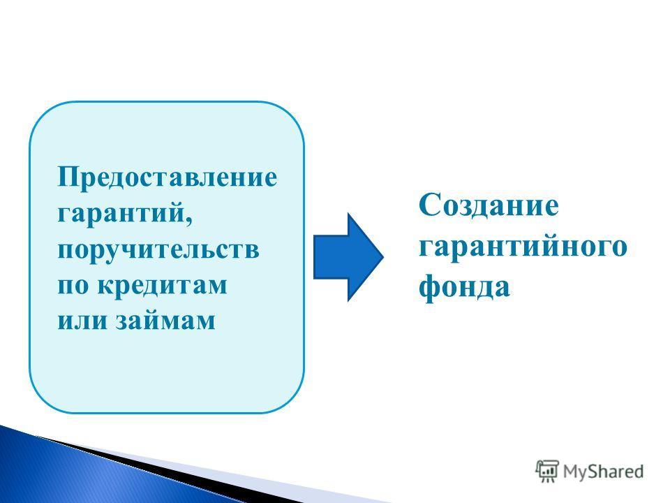 Создание гарантийного фонда Предоставление гарантий, поручительств по кредитам или займам