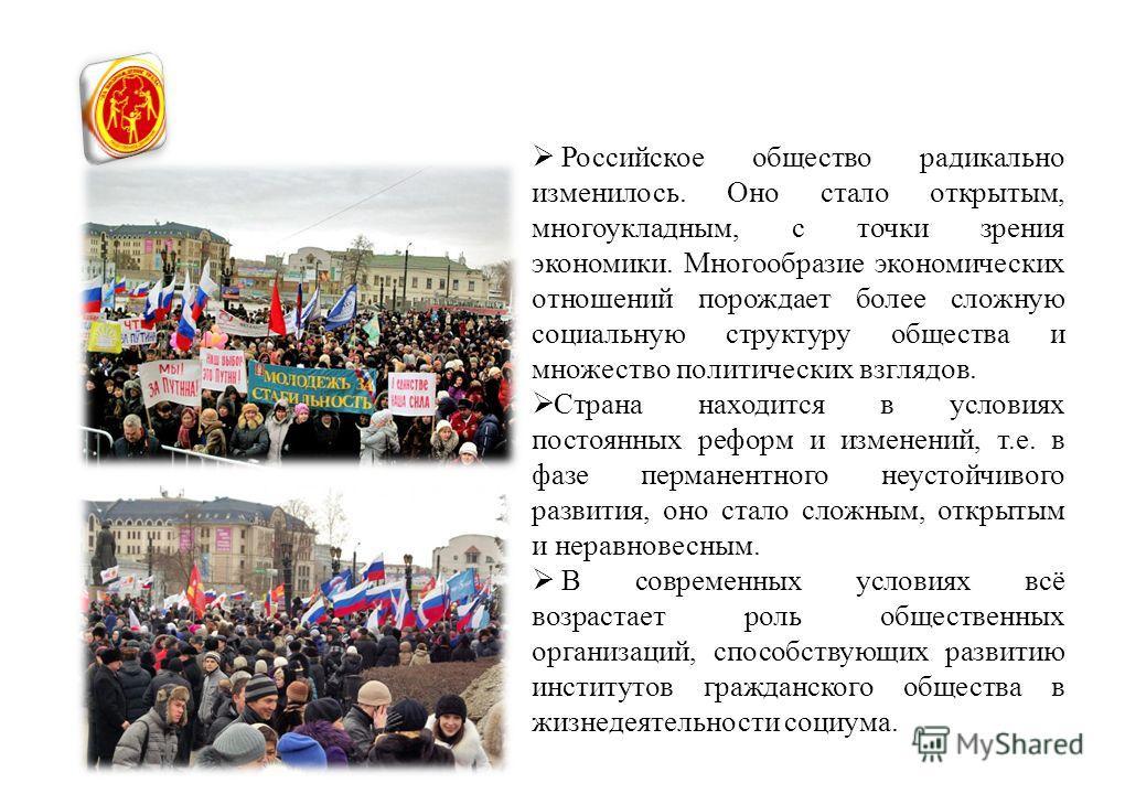 Российское общество радикально изменилось. Оно стало открытым, многоукладным, с точки зрения экономики. Многообразие экономических отношений порождает более сложную социальную структуру общества и множество политических взглядов. Страна находится в у