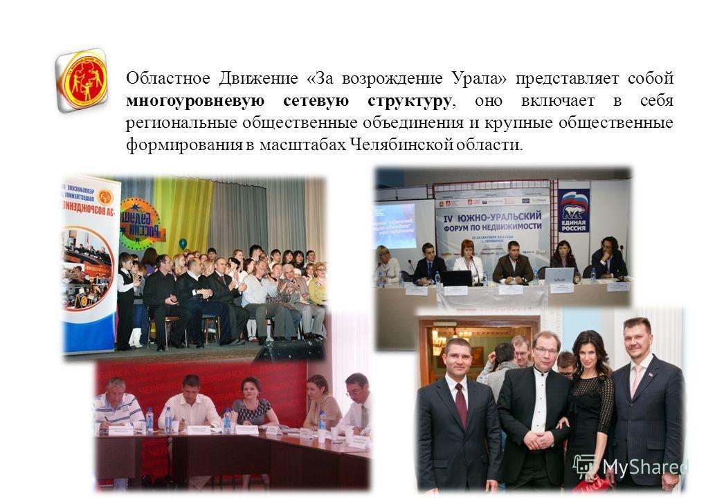 Областное Движение «За возрождение Урала» представляет собой многоуровневую сетевую структуру, оно включает в себя региональные общественные объединения и крупные общественные формирования в масштабах Челябинской области.