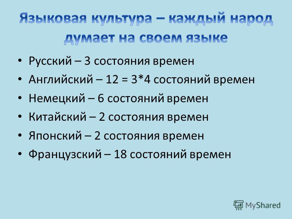 Русский – 3 состояния времен Английский – 12 = 3*4 состояний времен Немецкий – 6 состояний времен Китайский – 2 состояния времен Японский – 2 состояния времен Французский – 18 состояний времен