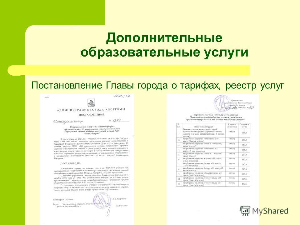 Дополнительные образовательные услуги Постановление Главы города о тарифах, реестр услуг