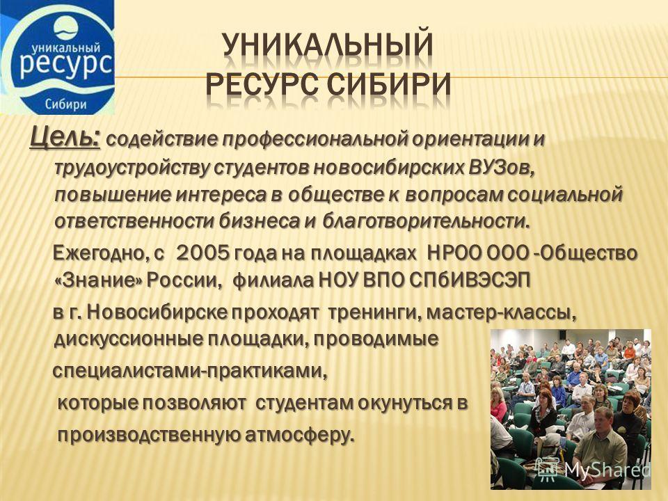 Цель: содействие профессиональной ориентации и трудоустройству студентов новосибирских ВУЗов, повышение интереса в обществе к вопросам социальной ответственности бизнеса и благотворительности. Ежегодно, с 2005 года на площадках НРОО ООО -Общество «Зн
