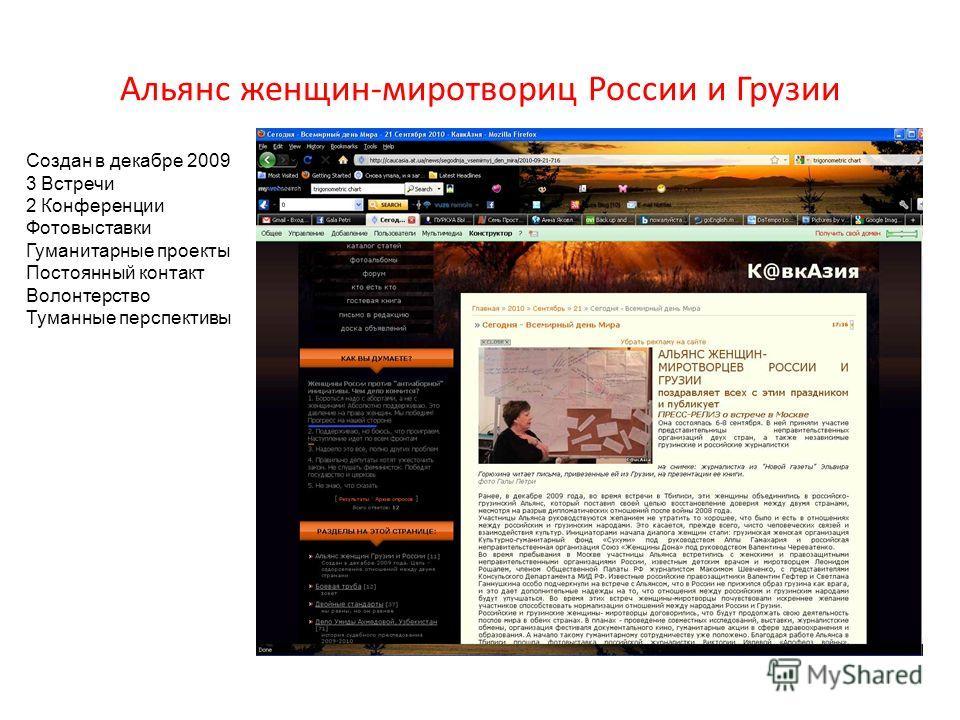 Альянс женщин-миротвориц России и Грузии Создан в декабре 2009 3 Встречи 2 Конференции Фотовыставки Гуманитарные проекты Постоянный контакт Волонтерство Туманные перспективы