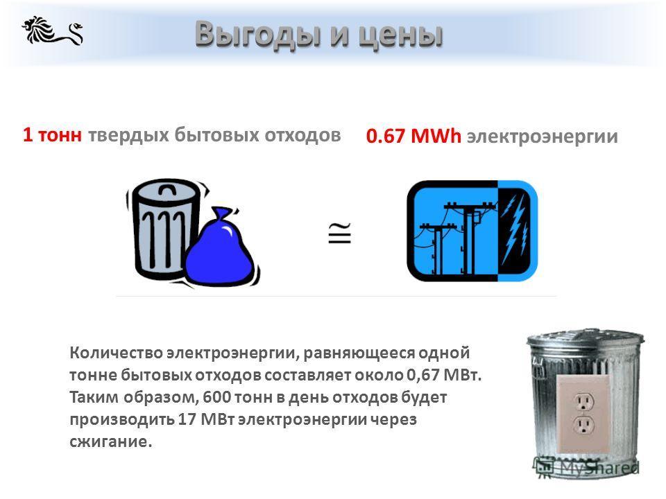Количество электроэнергии, равняющееся одной тонне бытовых отходов составляет около 0,67 МВт. Таким образом, 600 тонн в день отходов будет производить 17 МВт электроэнергии через сжигание. Выгоды и цены 1 тонн твердых бытовых отходов 0.67 MWh электро
