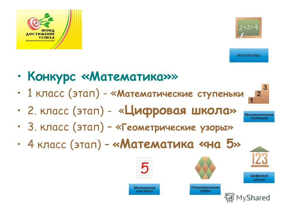 Конкурс «Математика»» 1 класс (этап) - « Математические ступеньки» 2. класс (этап) - « Цифровая школа » 3. класс (этап) – « Геометрические узоры» 4 класс (этап) – « Математика «на 5 »