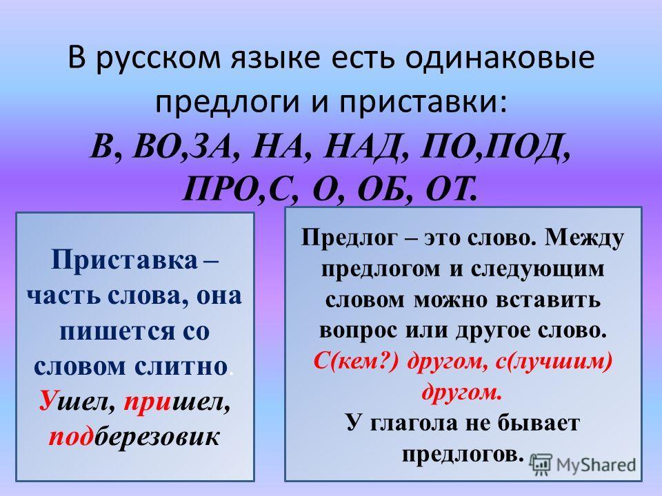 В русском языке есть одинаковые предлоги и приставки: В, ВО,ЗА, НА, НАД, ПО,ПОД, ПРО,С, О, ОБ, ОТ. Приставка – часть слова, она пишется со словом слитно. Ушел, пришел, подберезовик Предлог – это слово. Между предлогом и следующим словом можно вставит