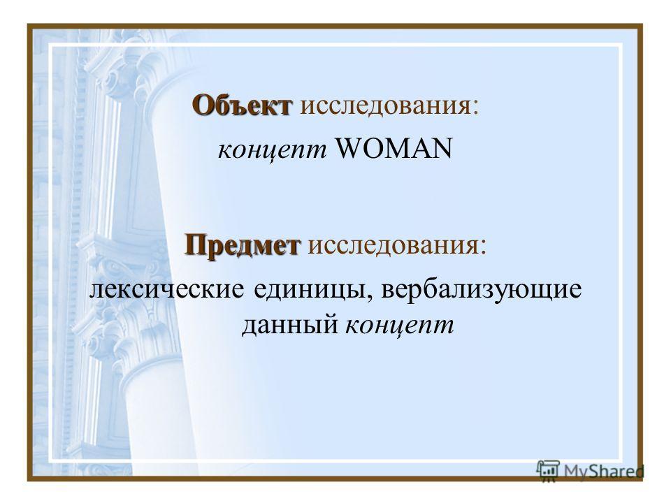 Объект Объект исследования: концепт WOMAN Предмет Предмет исследования: лексические единицы, вербализующие данный концепт