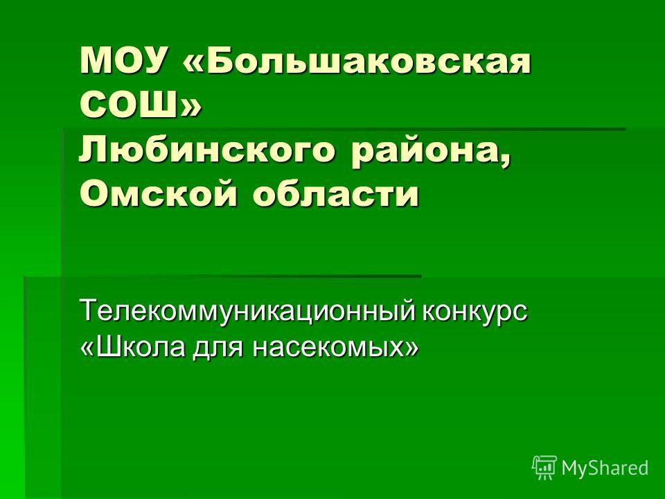 МОУ «Большаковская СОШ» Любинского района, Омской области Телекоммуникационный конкурс «Школа для насекомых»
