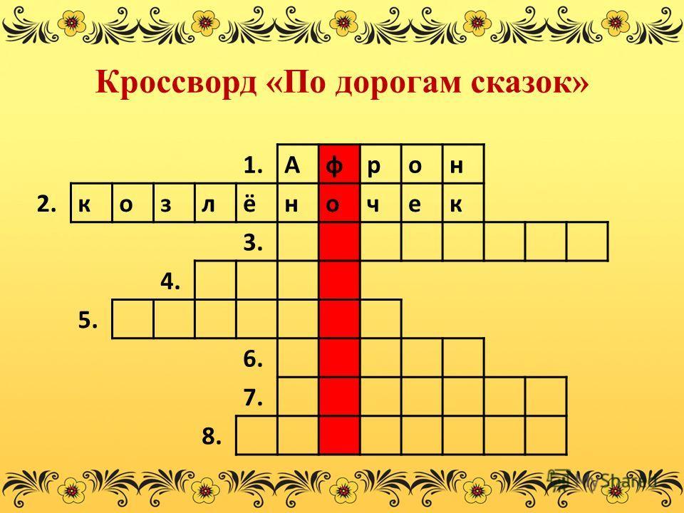 Кроссворд «По дорогам сказок» 1.Афрон 2.козлёночек 3. 4. 5. 6. 7. 8.