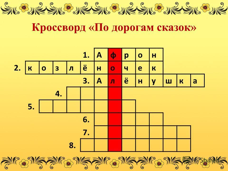 Кроссворд «По дорогам сказок» 1.Афрон 2.козлёночек 3.Алёнушка 4. 5. 6. 7. 8.