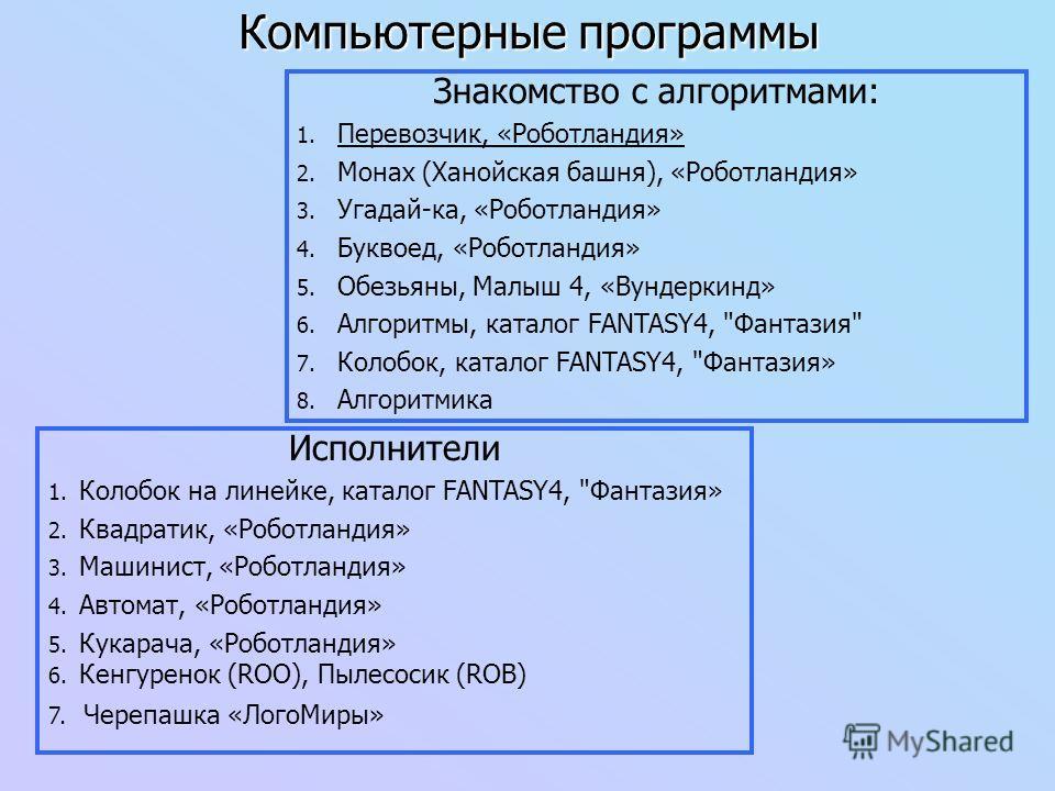 Компьютерные программы Знакомство с алгоритмами: 1. Перевозчик, «Роботландия» 2. Монах (Ханойская башня), «Роботландия» 3. Угадай-ка, «Роботландия» 4. Буквоед, «Роботландия» 5. Обезьяны, Малыш 4, «Вундеркинд» 6. Алгоритмы, каталог FANTASY4,