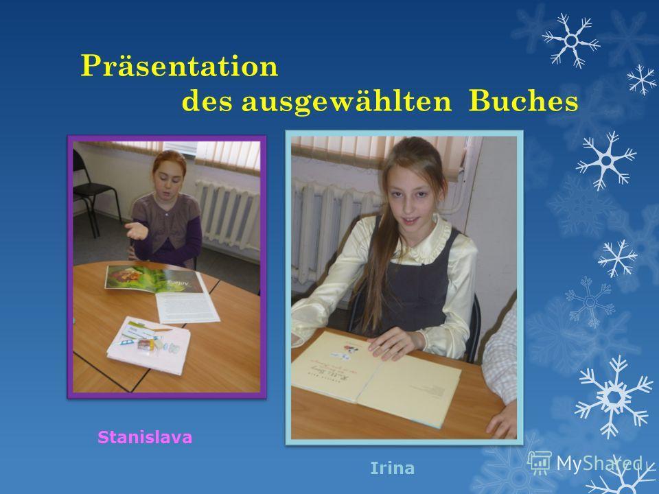 Präsentation des ausgewählten Buches Stanislava Irina