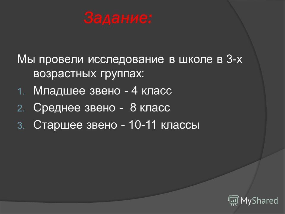 Задание: Мы провели исследование в школе в 3-х возрастных группах: 1. Младшее звено - 4 класс 2. Среднее звено - 8 класс 3. Старшее звено - 10-11 классы