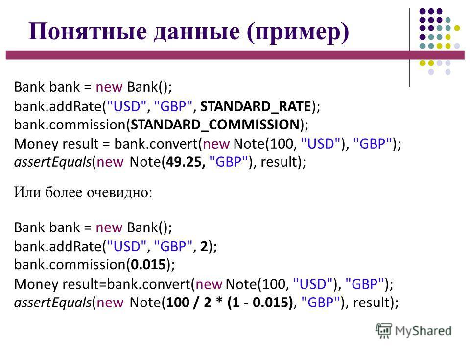 Понятные данные (пример) Bank bank = new Bank(); bank.addRate(