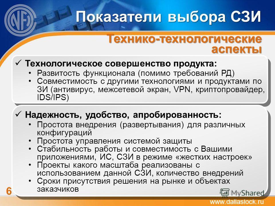 www.dallaslock.ru Показатели выбора СЗИ Технико-технологические аспекты 6 Технологическое совершенство продукта: Развитость функционала (помимо требований РД) Совместимость с другими технологиями и продуктами по ЗИ (антивирус, межсетевой экран, VPN,