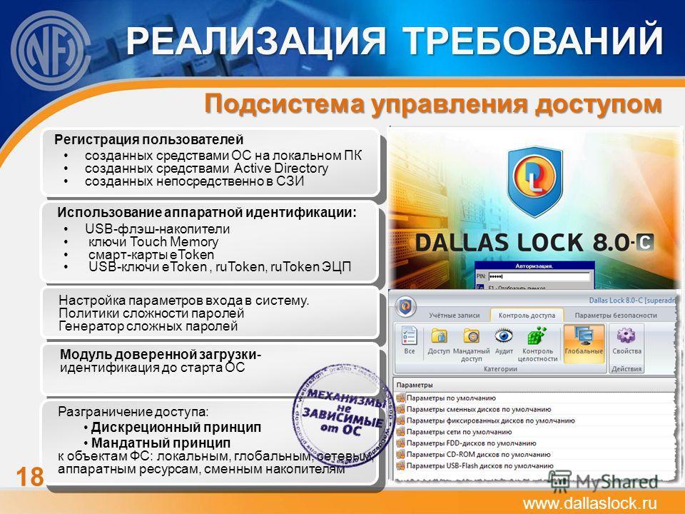 www.dallaslock.ru Подсистема управления доступом Регистрация пользователей созданных средствами ОС на локальном ПК созданных средствами Active Directory созданных непосредственно в СЗИ Использование аппаратной идентификации: USB-флэш-накопители ключи