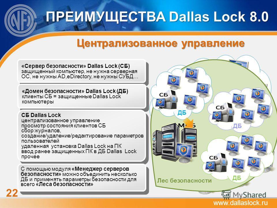 22 ПРЕИМУЩЕСТВА Dallas Lock 8.0 Централизованное управление ДБ «Сервер безопасности» Dallas Lock (СБ) защищенный компьютер, не нужна серверная ОС, не нужны AD,eDirectory, не нужны СУБД… «Домен безопасности» Dallas Lock (ДБ) клиенты СБ = защищенные Da