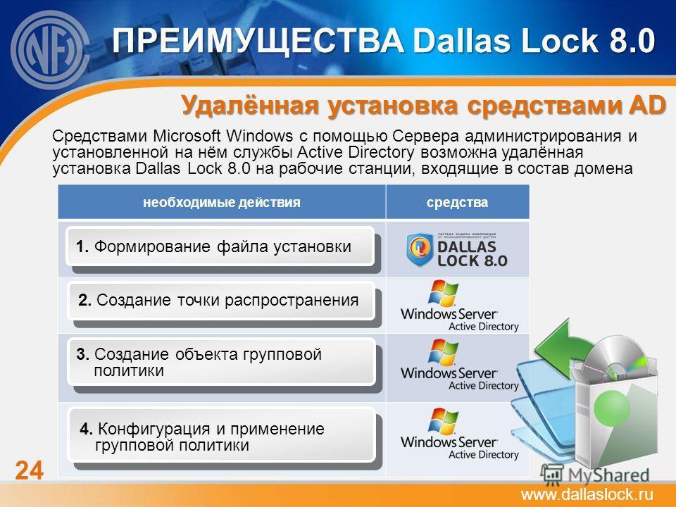 24 ПРЕИМУЩЕСТВА Dallas Lock 8.0 Удалённая установка средствами AD www.dallaslock.ru Средствами Microsoft Windows с помощью Сервера администрирования и установленной на нём службы Active Directory возможна удалённая установка Dallas Lock 8.0 на рабочи