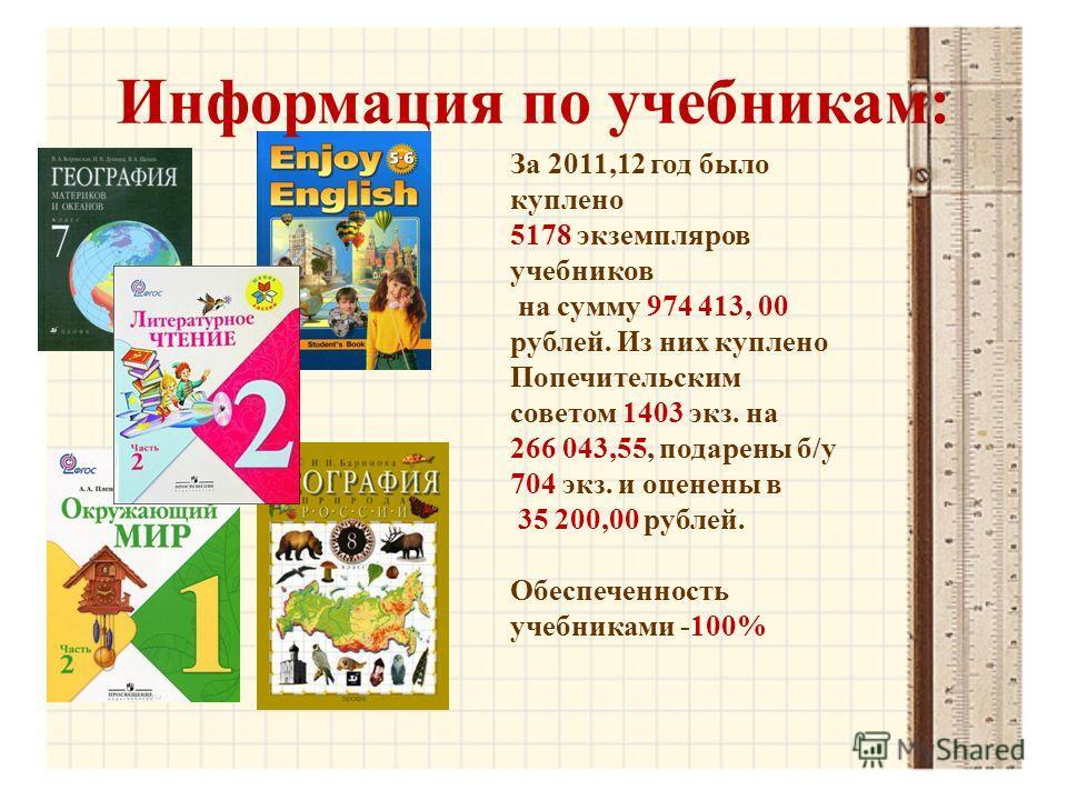Информация по учебникам: За 2011,12 год было куплено 5178 экземпляров учебников на сумму 974 413, 00 рублей. Из них куплено Попечительским советом 1403 экз. на 266 043,55, подарены б/у 704 экз. и оценены в 35 200,00 рублей. Обеспеченность учебниками