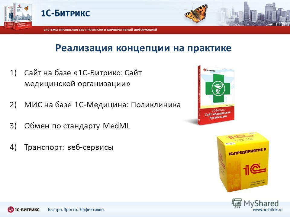 Реализация концепции на практике 1)Сайт на базе «1С-Битрикс: Сайт медицинской организации» 2)МИС на базе 1С-Медицина: Поликлиника 3)Обмен по стандарту MedML 4)Транспорт: веб-сервисы