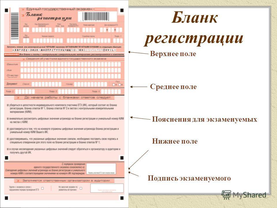 Бланк регистрации Верхнее поле Среднее поле Пояснения для экзаменуемых Нижнее поле Подпись экзаменуемого