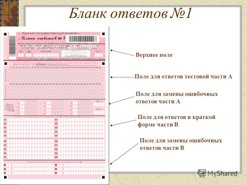 Бланк ответов 1 Верхнее поле Поле для ответов тестовой части А Поле для замены ошибочных ответов части А Поле для ответов в краткой форме части В Поле для замены ошибочных ответов части В