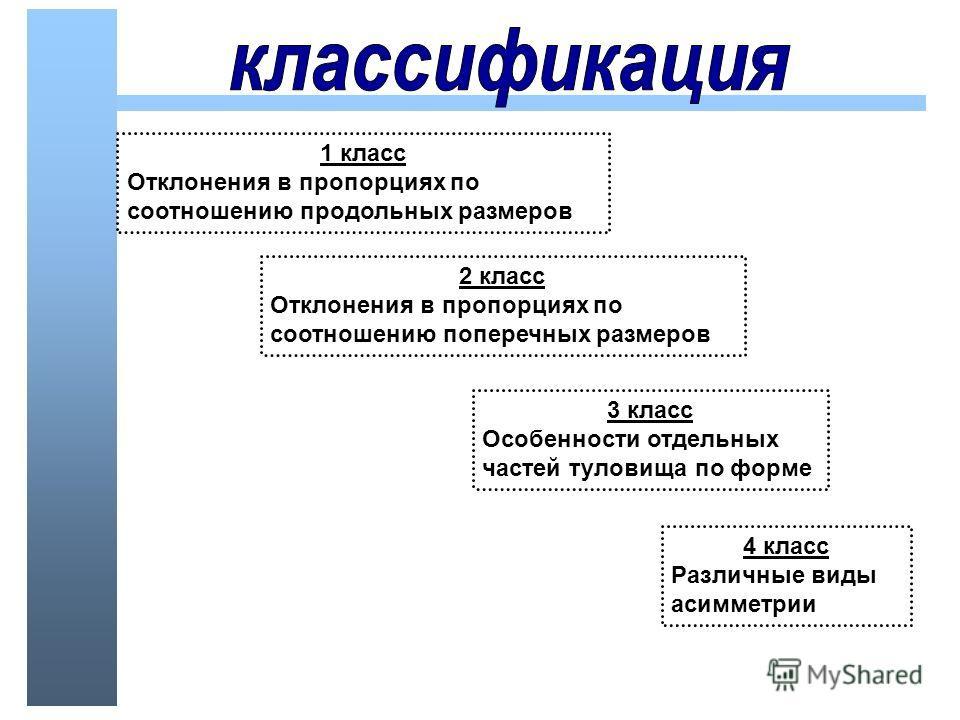 1 класс Отклонения в пропорциях по соотношению продольных размеров 2 класс Отклонения в пропорциях по соотношению поперечных размеров 3 класс Особенности отдельных частей туловища по форме 4 класс Различные виды асимметрии