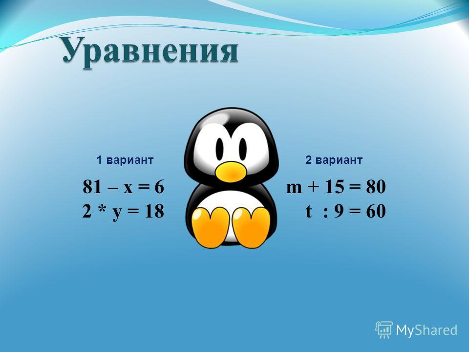81 – х = 6 m + 15 = 80 2 * y = 18 t : 9 = 60 1 вариант2 вариант