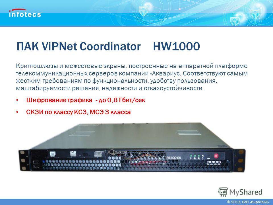 2013, ОАО «ИнфоТеКС». ПАК ViPNet Coordinator HW1000 Криптошлюзы и межсетевые экраны, построенные на аппаратной платформе телекоммуникационных серверов компании «Аквариус. Соответствуют самым жестким требованиям по функциональности, удобству пользован