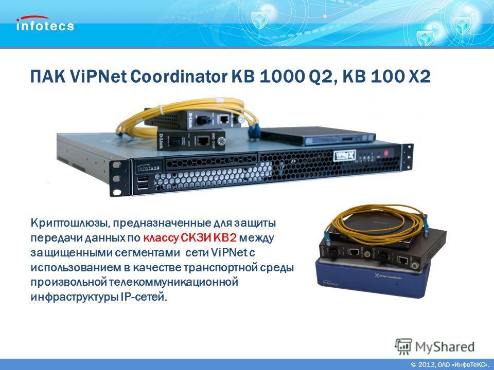 2013, ОАО «ИнфоТеКС». ПАК ViPNet Coordinator KB 1000 Q2, KB 100 X2 Криптошлюзы, предназначенные для защиты передачи данных по классу СКЗИ КВ2 между защищенными сегментами сети ViPNet с использованием в качестве транспортной среды произвольной телеком