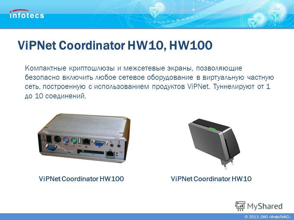 2013, ОАО «ИнфоТеКС». ViPNet Coordinator HW10, HW100 ViPNet Coordinator HW100 Компактные криптошлюзы и межсетевые экраны, позволяющие безопасно включить любое сетевое оборудование в виртуальную частную сеть, построенную с использованием продуктов ViP