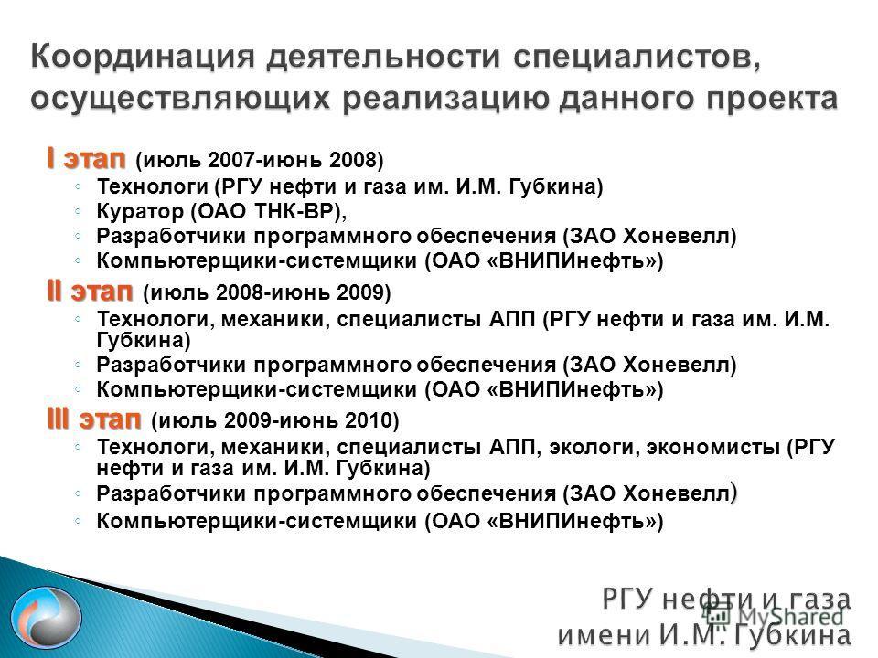 I этап I этап (июль 2007-июнь 2008) Технологи (РГУ нефти и газа им. И.М. Губкина) Куратор (ОАО ТНК-BP), Разработчики программного обеспечения (ЗАО Хоневелл) Компьютерщики-системщики (ОАО «ВНИПИнефть») II этап II этап (июль 2008-июнь 2009) Технологи,