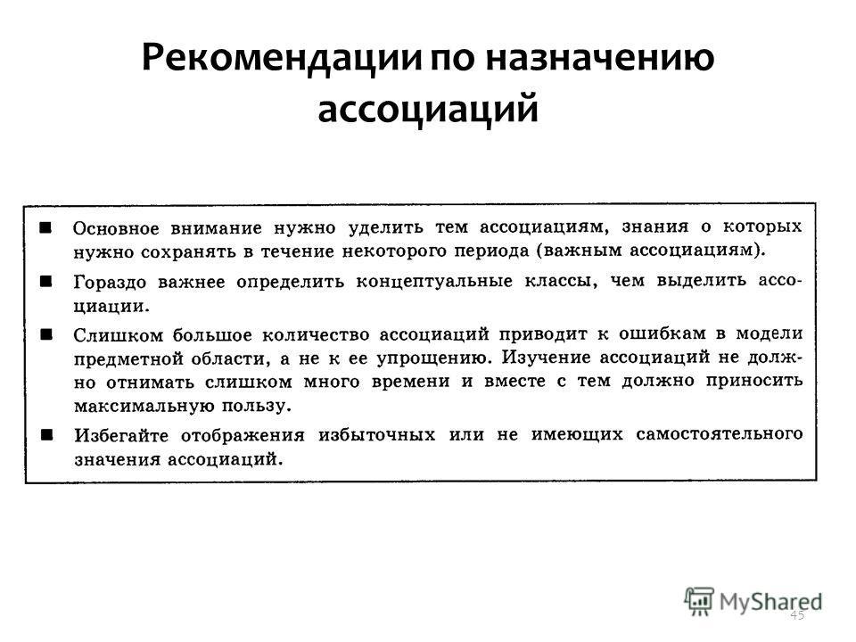 Рекомендации по назначению ассоциаций 45