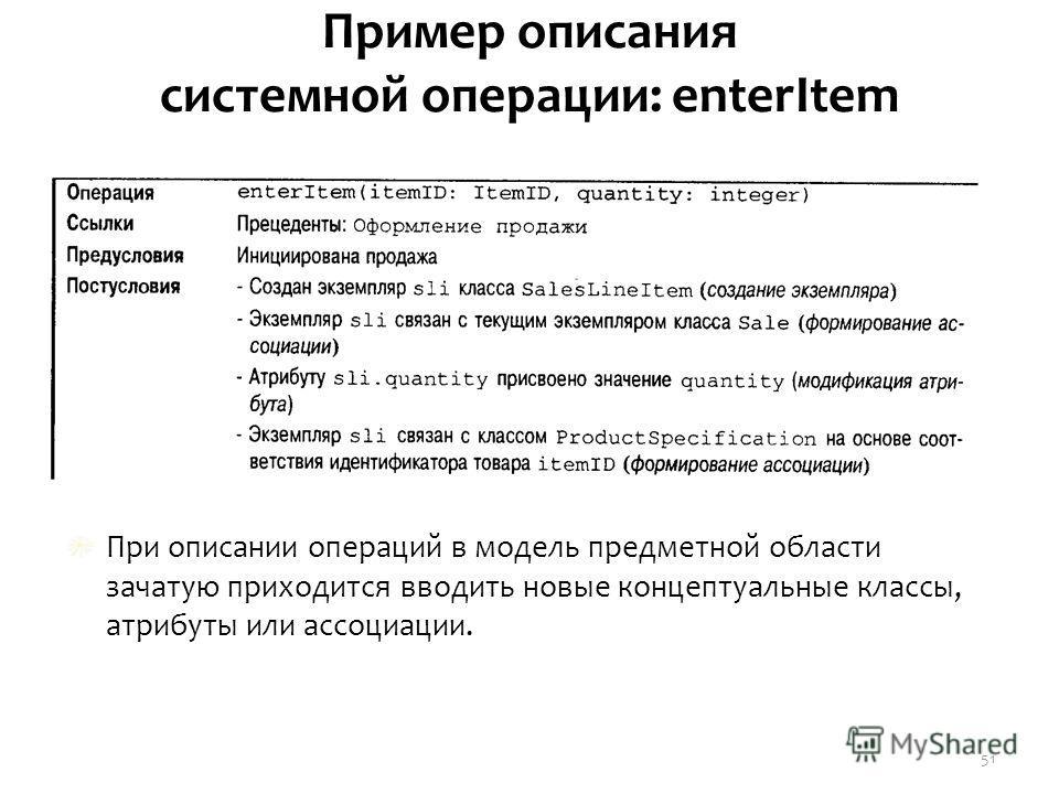 Пример описания системной операции: enterItem При описании операций в модель предметной области зачатую приходится вводить новые концептуальные классы, атрибуты или ассоциации. 51