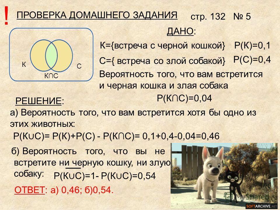 К С КС P(К)=0,1 P(C)=0,4 P(КС)=0,04 а) Вероятность того, что вам встретится хотя бы одно из этих животных: P(К С)= P(К)+P(C) - P(КС)= 0,1+0,4-0,04=0,46 б) Вероятность того, что вы не встретите ни черную кошку, ни злую собаку: К={встреча с черной кошк