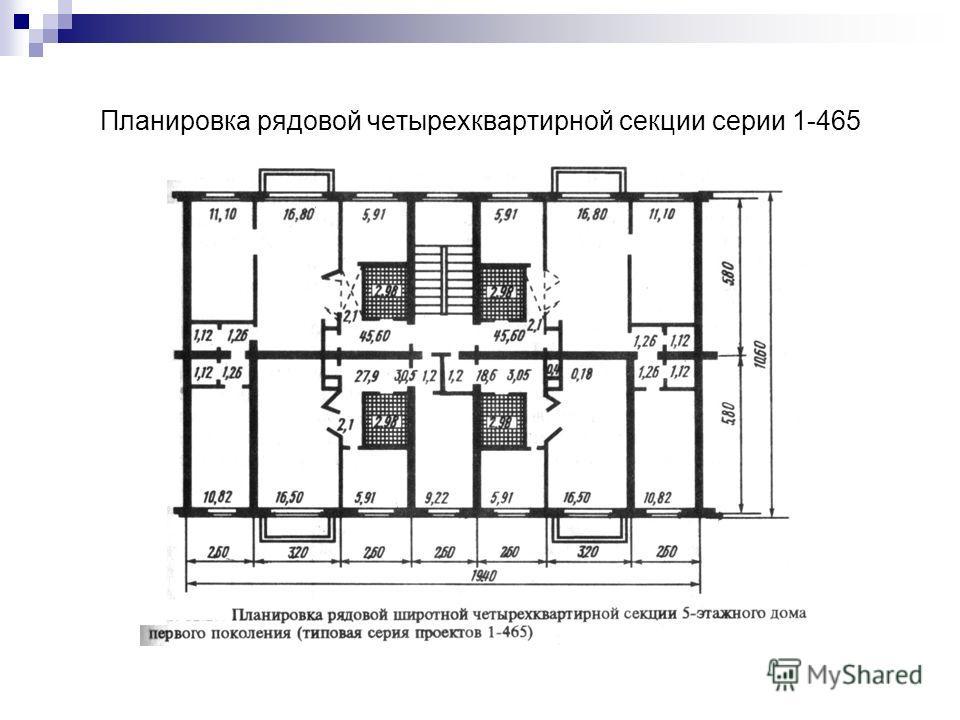 Планировка рядовой четырехквартирной секции серии 1-465