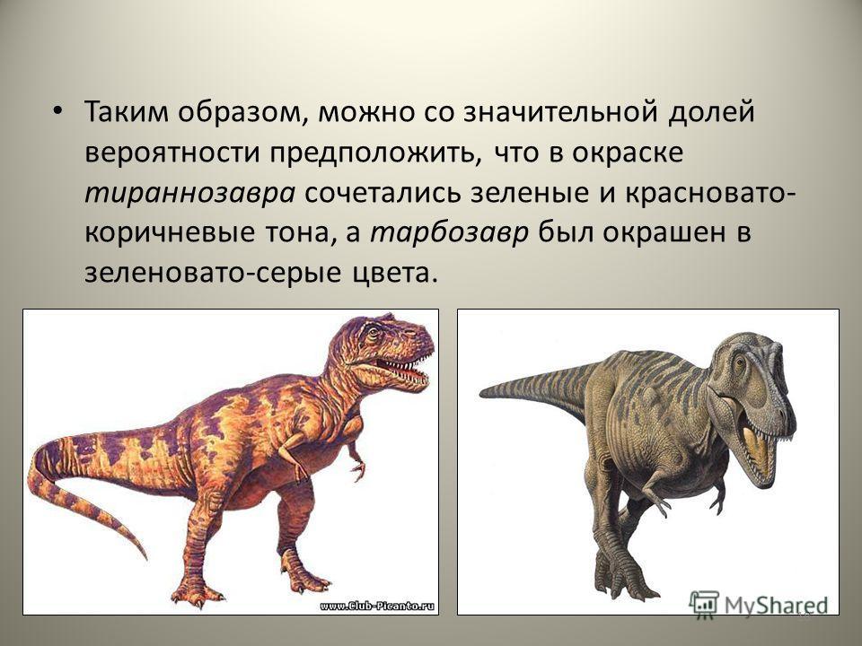 Таким образом, можно со значительной долей вероятности предположить, что в окраске тираннозавра сочетались зеленые и красновато- коричневые тона, а тарбозавр был окрашен в зеленовато-серые цвета. 18