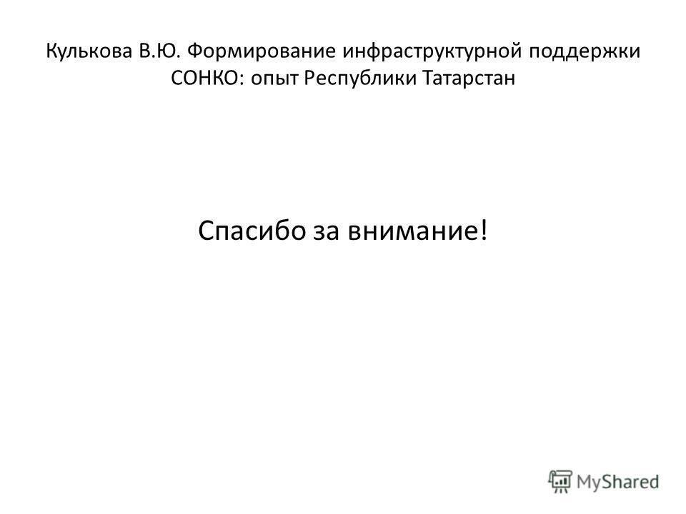 Спасибо за внимание! Кулькова В.Ю. Формирование инфраструктурной поддержки СОНКО: опыт Республики Татарстан