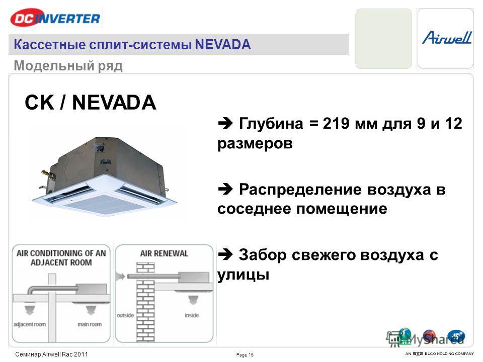 Page 15 Семинар Airwell Rac 2011 CK / NEVADA Глубина = 219 мм для 9 и 12 размеров Распределение воздуха в соседнее помещение Забор свежего воздуха с улицы Кассетные сплит-системы NEVADA Модельный ряд