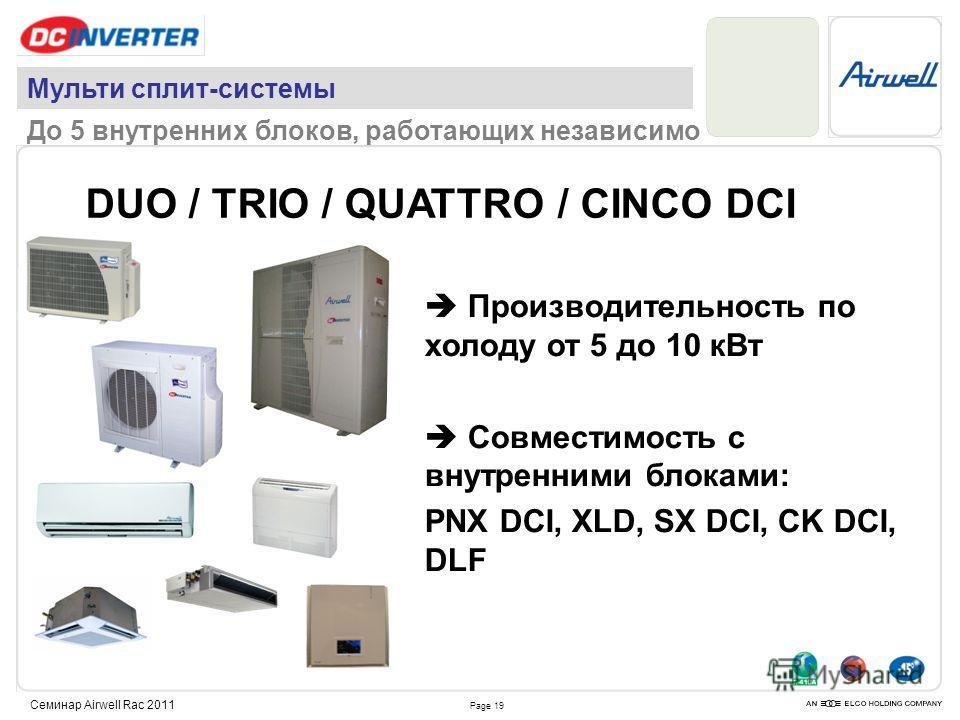 Page 19 Семинар Airwell Rac 2011 DUO / TRIO / QUATTRO / CINCO DCI Производительность по холоду от 5 до 10 кВт Совместимость с внутренними блоками: PNX DCI, XLD, SX DCI, CK DCI, DLF Мульти сплит-системы До 5 внутренних блоков, работающих независимо