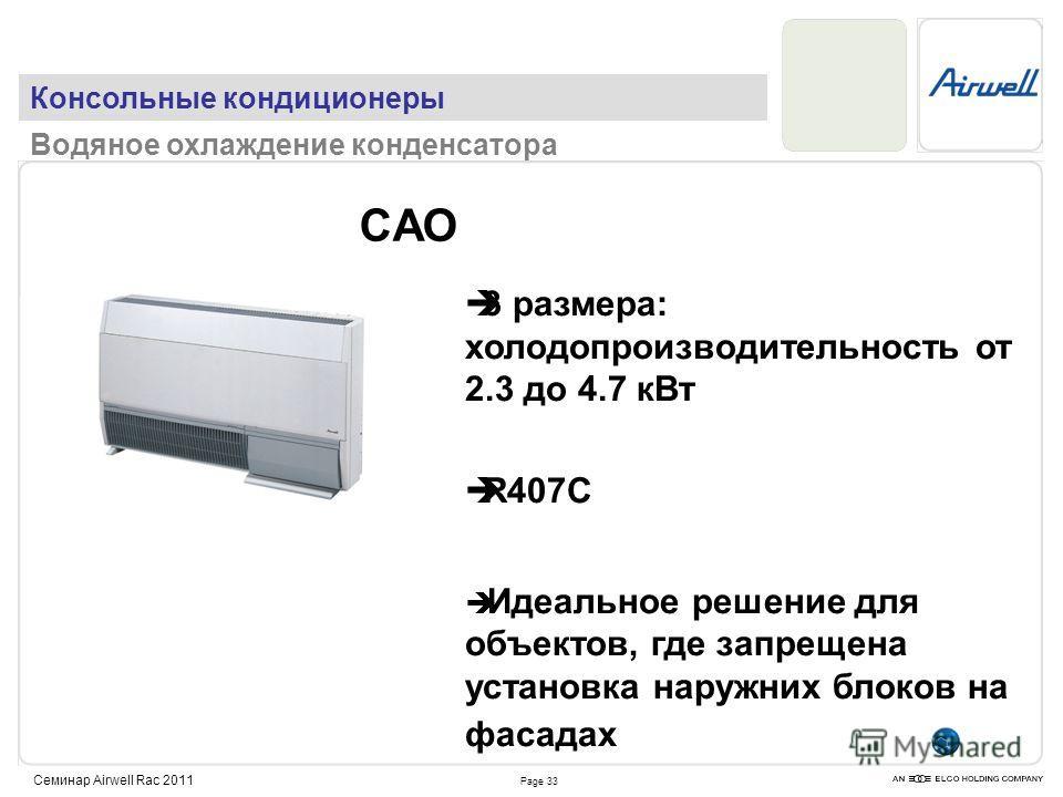 Page 33 Семинар Airwell Rac 2011 CAO 3 размера: холодопроизводительность от 2.3 до 4.7 кВт R407C Идеальное решение для объектов, где запрещена установка наружних блоков на фасадах Консольные кондиционеры Водяное охлаждение конденсатора