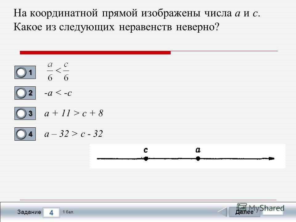 Далее 4 Задание 1 бал. 1111 2222 3333 4444 На координатной прямой изображены числа а и с. Какое из следующих неравенств неверно? -а < -c a + 11 > c + 8 a – 32 > c - 32