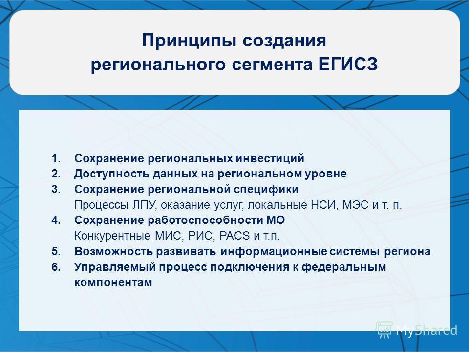 Принципы создания регионального сегмента ЕГИСЗ 1.Сохранение региональных инвестиций 2.Доступность данных на региональном уровне 3.Сохранение региональной специфики Процессы ЛПУ, оказание услуг, локальные НСИ, МЭС и т. п. 4.Сохранение работоспособност