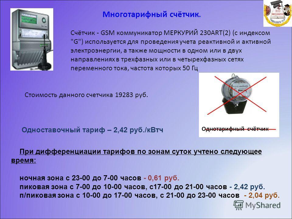 Многотарифный счётчик. Счётчик - GSM коммуникатор МЕРКУРИЙ 230ART(2) (с индексом