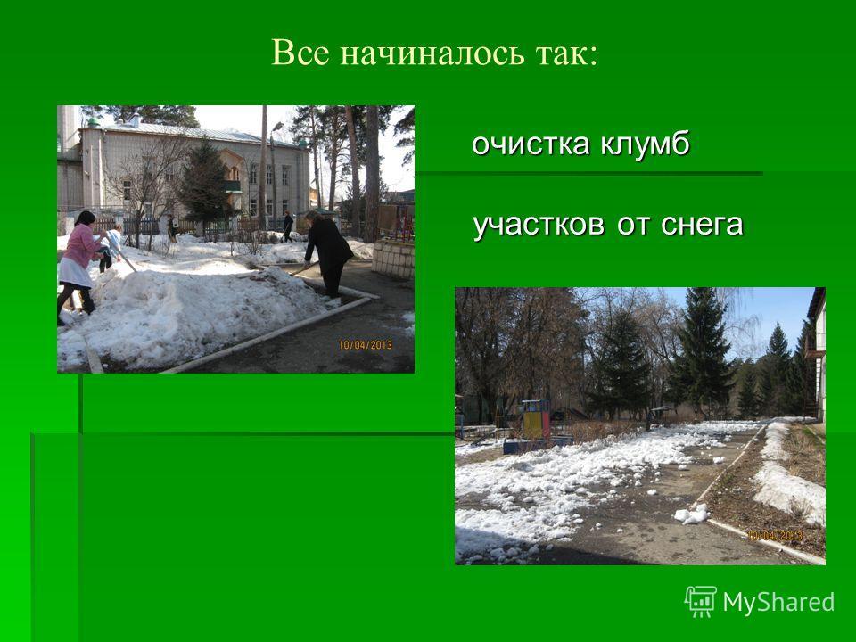 Все начиналось так: очистка клумб очистка клумб участков от снега участков от снега
