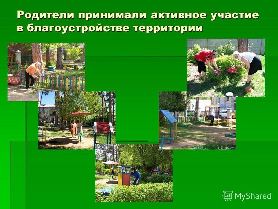 Родители принимали активное участие в благоустройстве территории